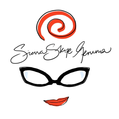 Sierra Skye Gemma logo with outline of red hair glasses and red lips in a smirk